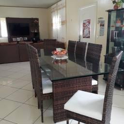 Título do anúncio: Mesa com 08 cadeiras vidro:2mX80cm Frete Grátis!!!