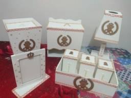 Kit higiene 8 peças branco com rosê
