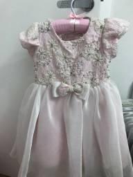 Vestido festa infantil rosa/branco