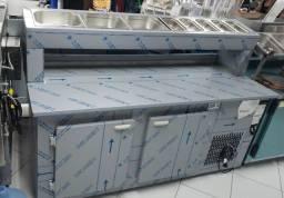Balcão refrigerado condimentadora inox gelopar GBPZ-190 (nova) Alecs