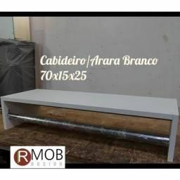 Cabideiro Arara Parede MDF Branco 70cm - RMOB