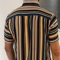 Camisa em Viscose Estampado Listrado - ULTIMA PEÇA M