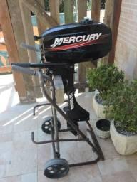 Motor Mercury 3.3 HP + Carrinho ( Praticamente Zero ) Passo Cartão