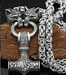 Título do anúncio: Colar viking nórdico Thor MJONIR aço inoxidável lobo Fenrir