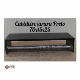 Cabideiro Arara Parede MDF Preto 70cm - RMOB