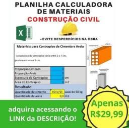 Planilha calculadora de materiais - Construção Civil