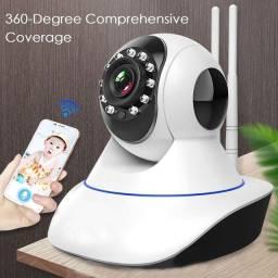 Câmera De Vigilância Sem Fio 360 Graus Com Monitor Hd Remoto Wifi