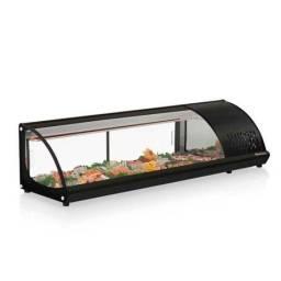 Vitrine refrigerada de bancada para sushi gelopar GVRB-160 preta (nova) Alecs