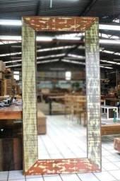 Moldura para espelho em madeira de demolição - madeira nobre Imbuia