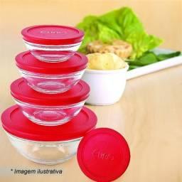 Kit de 5 potes de vidro com tampa vermelha