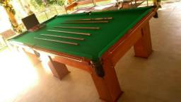 Mesa Madeira 3,10 x 1,64 Cor Imbuia Tecido Verde Mod. ELRV9072