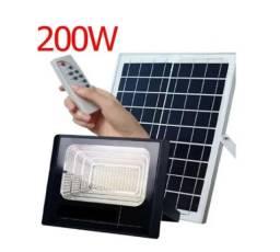 Refletor Energia Solar 200w Energia Holofote Luminária Led controle remoto IP66