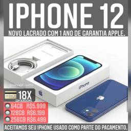 iPhone 12 64gb novo com 1 ano de garantia Apple. Somos loja.