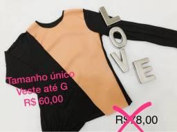 Blusa bicolor preta nude