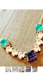 Colar,chokers, dourado, baummer  semi jóias