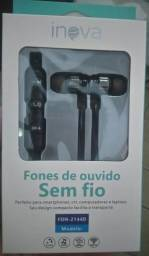 Fones de ouvido sem fio com carregador USB