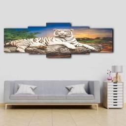 Quadro Mosaico Tigre Branco