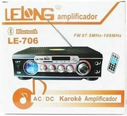 Título do anúncio: Amplificador Karaoke Som Ambiente Stereo Conexão Bluetooth