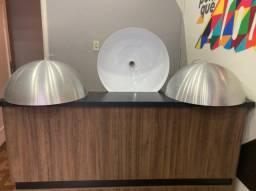 3 Pendente Meia Lua 50cm Alumínio (meia Bola)