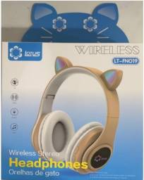 Fone De Ouvido Bluetooth Gatinho 5.0 Dobrável P33
