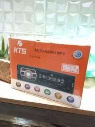 Auto radio KTS com USB, bluetooth e leitor de cartão SD