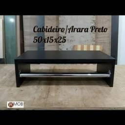 Cabideiro Arara Parede MDF Preto 50cm - RMOB