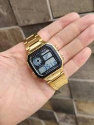 Título do anúncio: Relógio Masculino Digital Dourado Quadrado Skmei 1335