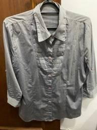 Título do anúncio: Camisa feminina de malha, cinza, meia manga tamanho GG, excelente estado - R$ 20,00 no Pix