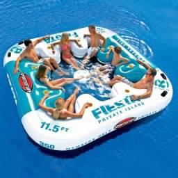 Boia Ilha Flutuante Inflavel Fiesta 8 Pessoas + cooler