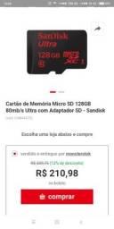 Cartao de menoria sandisk ultra 128 gb micro sdxc