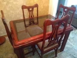 Mesa de Jantar + 4 Cadeiras + Aparador + Espelho + Mesa Telefone
