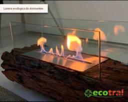 Lareira ecológica em madeira rústica