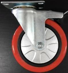 Rodízios com trava, novos, sem uso. Tongbu. Diâmetro da roda 124mm - #4903
