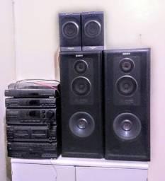 Aparelho de Som Sony TBT A495 em bom estado + 4 Auto-falantes