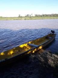 Canoa de madeira 7m + Motor Honda 6,5HP