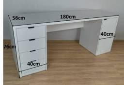 Título do anúncio: Mesa White Oak 180x56 em MDF Branco - HyperBuy - Produto Novo