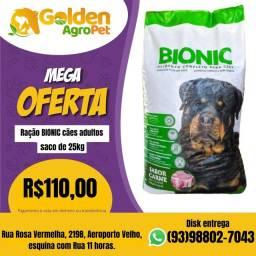 Oferta de ração BIONIC cães adultos 25kg.