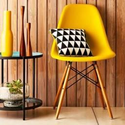Cadeira Eames Wood Amarela, Temos Preta, Vermelha, Azul, Cinza