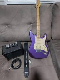 Kit Guitarra, com cinta, Amplificador, cabo, e afinador