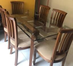 Título do anúncio: Conjunto para sala madeira maciça - mesa de 6 lugares e console