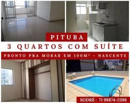 Pituba - 3 Quartos - Suíte - Nascente, Pronto pra Morar em 100m² - Excelente Localização
