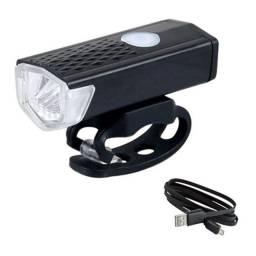 Título do anúncio: Farol Lanterna Bike Usb Frontal Alumínio Recarregável 300 Lumens 35