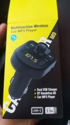 Título do anúncio: Carregador Carro Transmissor Fm Bluetooth Veicular Mp3 Rádio