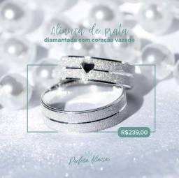 Aliança prata legítima diamantada coração vazado