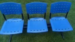 Cadeira tripla de longarina para escritório nova