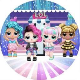 Painel de festa menina LoL, bonecas, desenhos infantil