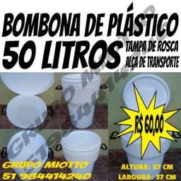 Bombona Taça com Alça 50 Litros Branca com Tampa de Rosca