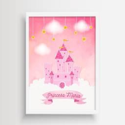 Arte Digital para Quadro Decorativo Infantil Castelo da Princesa