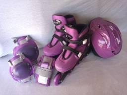 Patins Roller In-line Ajustável Roxo (G 37-40) + Kit Proteção (Sem Uso)