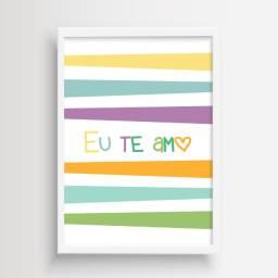 Arte Digital para Quadro Decorativo Infantil Eu Te Amo Colorido